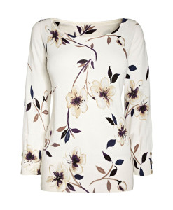 White Scoop Floral Shirt
