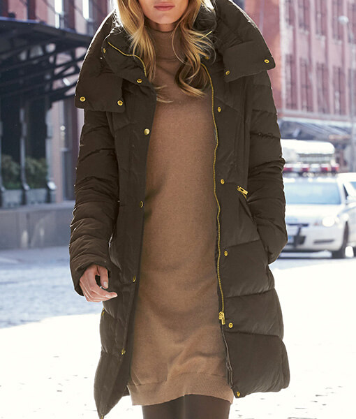 Khaki Long Puffa Coat - Choice Discount