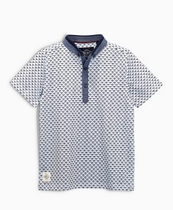 Next White Geo Print Polo Shirt