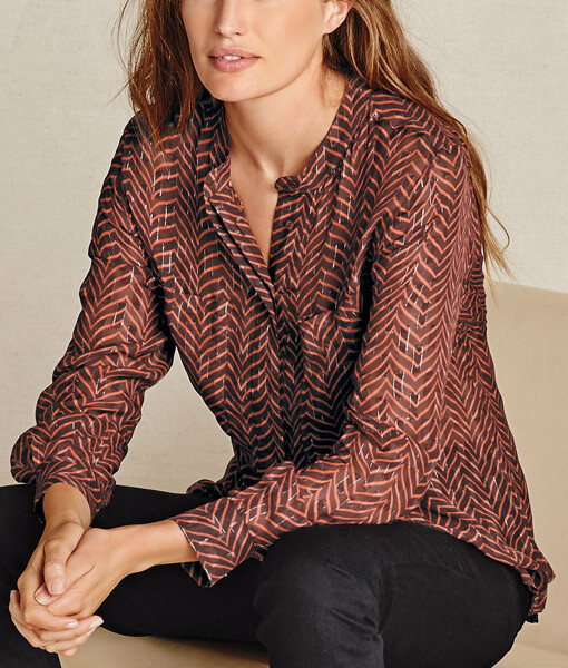 Round Neck Patterned Blouse