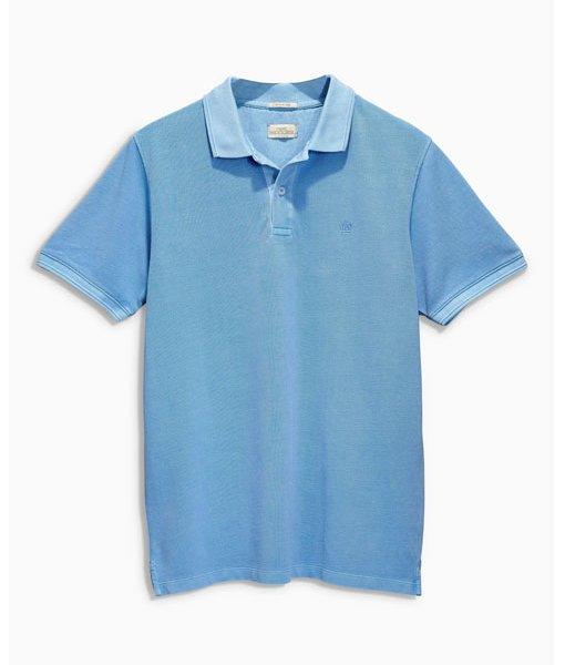 Blue Pique Polo Shirt