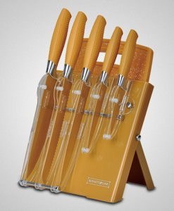 Royalty Line 7-Piece Non-Stick Coated Knife Set - Gold