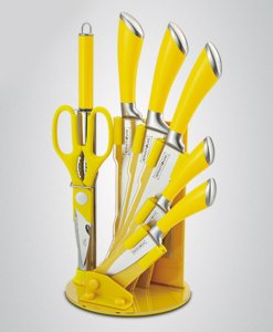 Royalty Line 8-Piece Stainless Steel Knife Set - Yellow