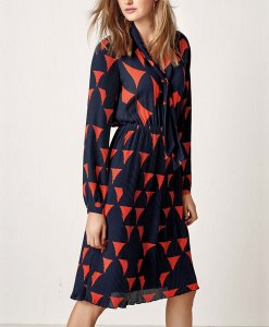 Choice Discount Pleated Navy Orange Dress Next