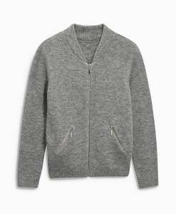 Next Grey Knitted Bomber Choice Discount