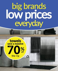 Save up to 70% Off Famous Brand Towels