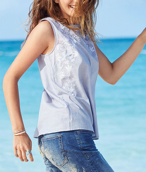 Embroidered Chambray Cami