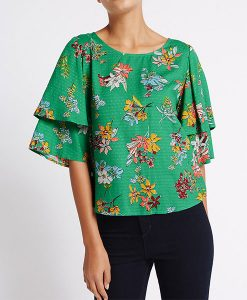 Floral Ruffle Sleeve Top Choice Discount