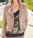 Pink Suedette Biker Jacket