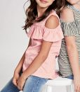 Open Shoulder Stripe Top