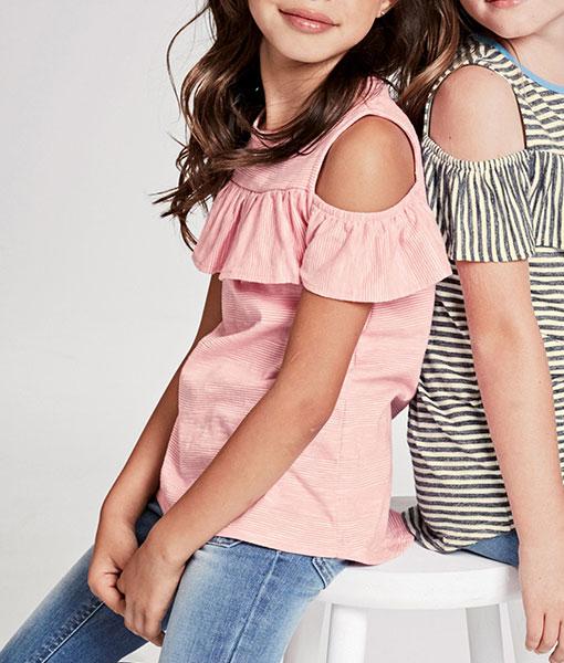 Open Shoulder Stripe Top