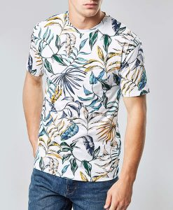 White Leaf Print T-Shirt