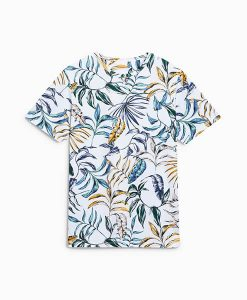 White Leaf Print T-Shirt