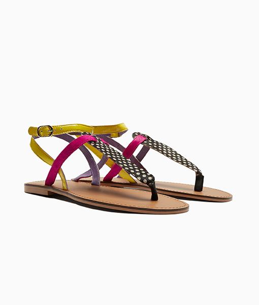 Multi Colour T-Bar Sandals