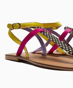 Multi Colour T-Bar Sandals