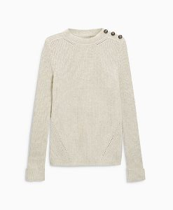 Ecru Ribbed Sweatshirt