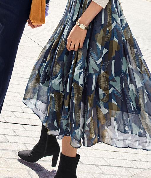 Geo Pleated Skirt