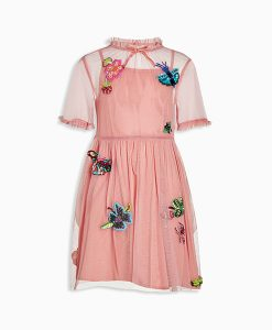 Pink Butterfly Embroidered Dress