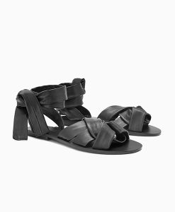 Black Leather Wrap Sandals