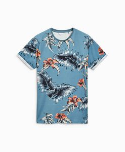 Teal Leaf Print T-Shirt