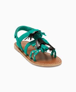 Green Tassel Sandals