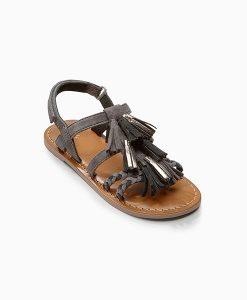 Grey Tassel Sandals