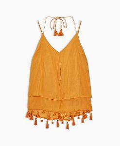 Orange Pom Cami Top