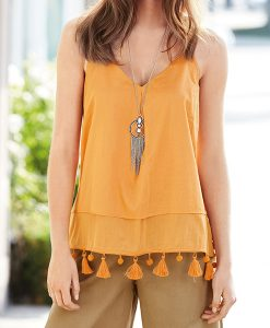 Orange Pom Cami Top