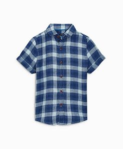 Blue Linen Check Shirt