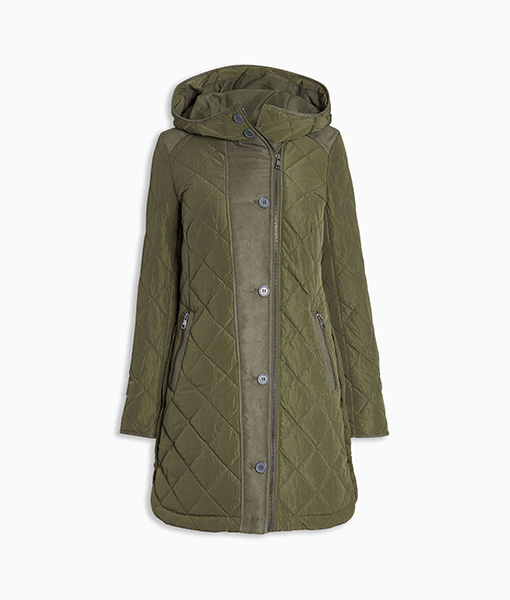 Long Quilted Khaki Coat