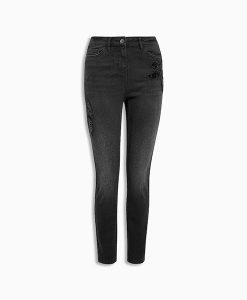 Black Leaf Skinny Jeans
