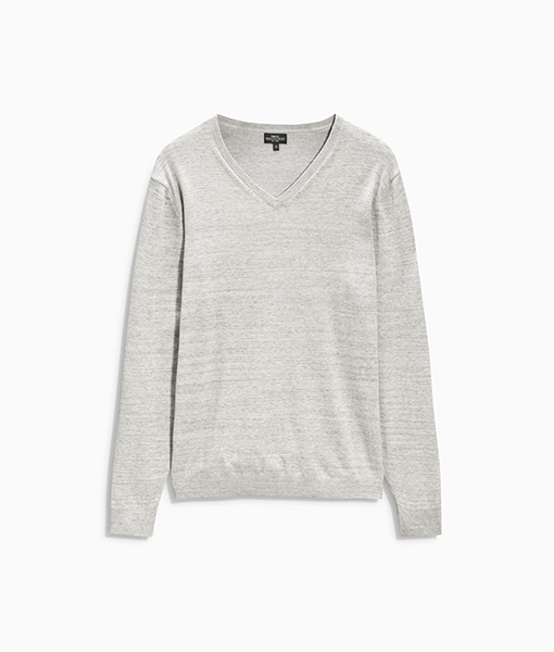 Grey V-Neck Jumper