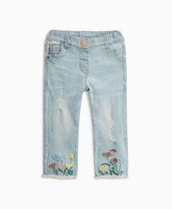 Girls floral embellish jean