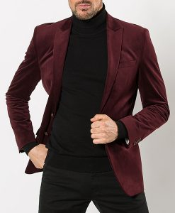 Burgundy Velvet Tailored Blazer