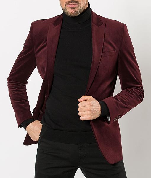 Burgundy Velvet Tailored Blazer