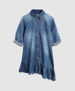Denim Asymmetric Shirt Dress