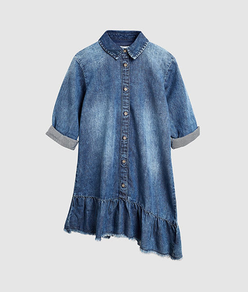 Denim Asymmetric Shirt Dress