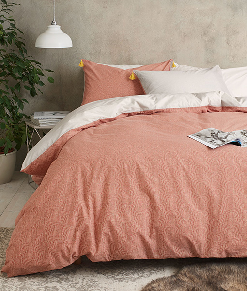 Peach duvet cover tassel