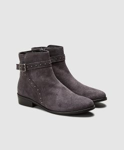 Grey stud flat boot