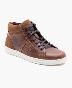 Men's tan leather trainer