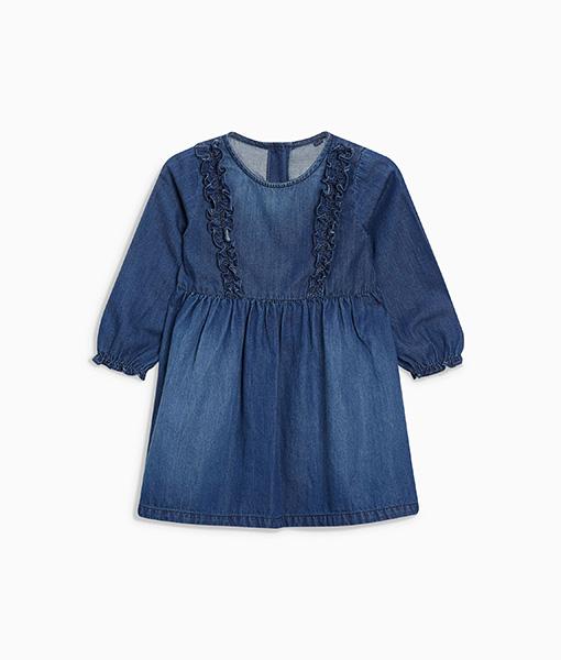 Girl's ruffle denim dress