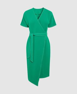 Green crepe dress