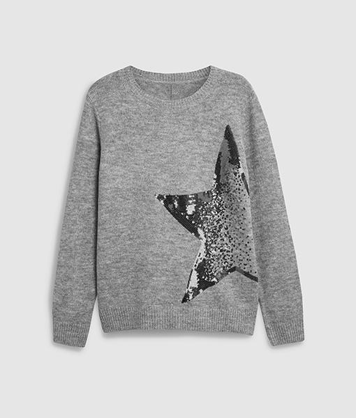 Sequin Star Grey Sweater