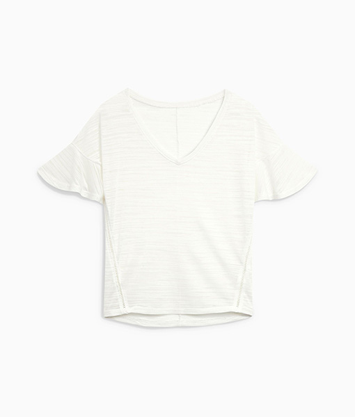 White Flute Sleeve Top