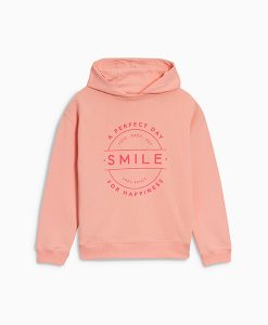 Peach Slogan Hoody