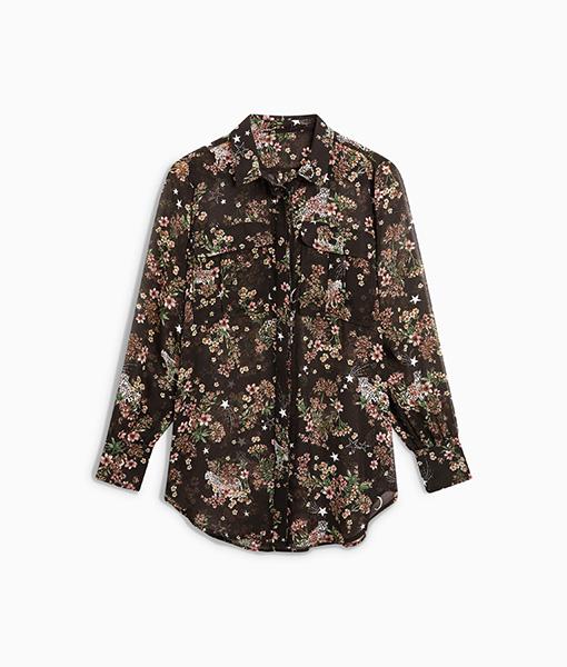 Floral Black Utility Shirt
