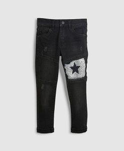 Sequin patch jeans