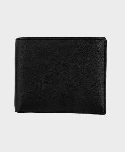 Black Leather Two-fold Wallet
