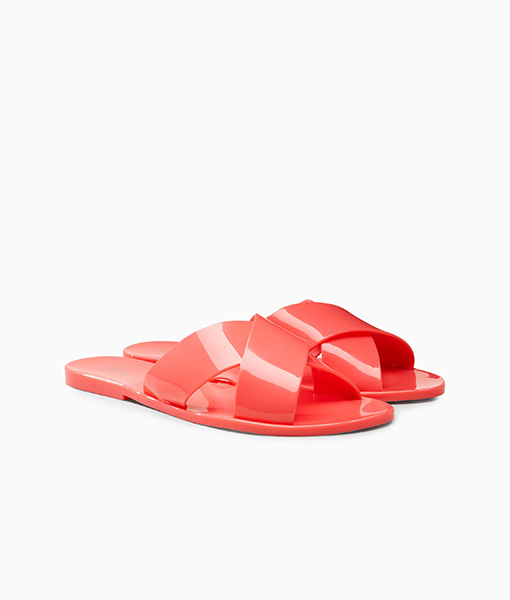 Coral jelly mule sandal