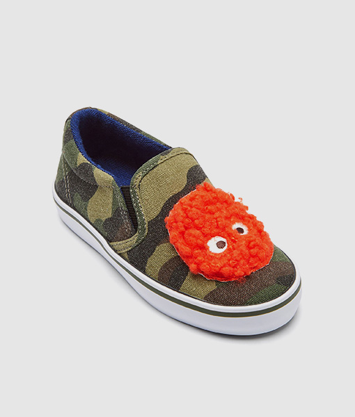 Slip on camouflage monster shoes